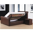 Caxton PU Leather Storage Bed Black / Brown - (4'6)