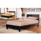 Haven PU Leather Bed Black / Brown - (5')