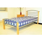 "Pacific - Beech Posts Silver Metal Bed (4'6"")"