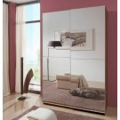Queen - Walnut 180cm Full Mirrored Sliding Wardrobe